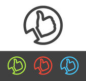 Vector thumbs up icon set line and flat design