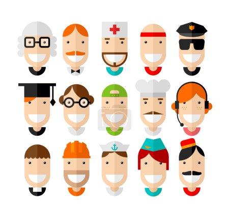 Photo pour Joyeuses professions souriantes caractère, design plat, illustration vectorielle - image libre de droit