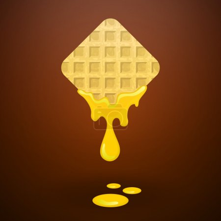 Illustration pour Gaufre au four savoureuse au miel - image libre de droit
