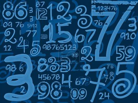 Photo pour Les numéros à la main bleue math fond illustration - image libre de droit