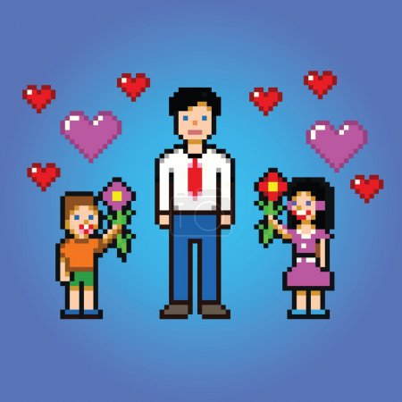 little kids gives daddy flowers - pixel art style vector