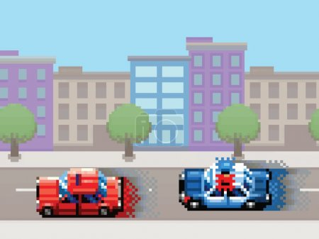 Police car chase pixel art video game style retro illustration