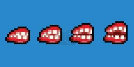 Denture dental prosthesis - pixel art style animation frame isolated
