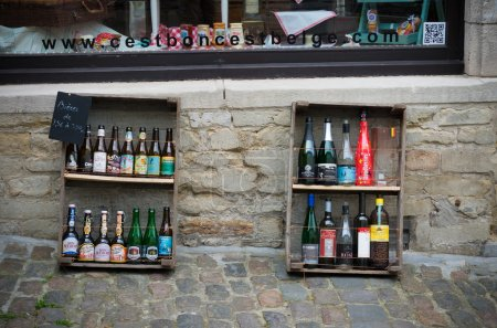 belgian beers outside a store