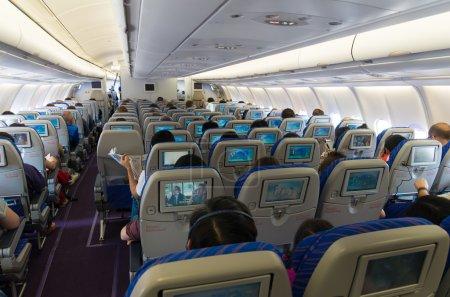 Photo pour Guangzhou, Chine - 10 mai 2015 : Intérieur d'un avion commercial de China Southern Airlines Company Limited (Csn). C'est la plus grande compagnie aérienne en Chine et est fondé en 1995 - image libre de droit