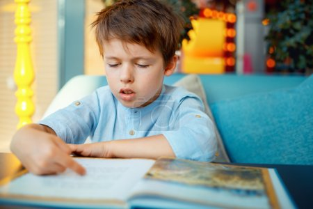 Preschooler boy reading book