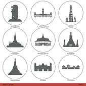 Asian capitals symbolized by their main  (historical whenever it was possible) landmark building