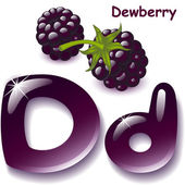 Alphabet English capital and uppercase letter D stylized color of dewberry juice dewberry berry vector illustration
