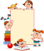 Frame with school children and school supplies Space for text Vector illustration