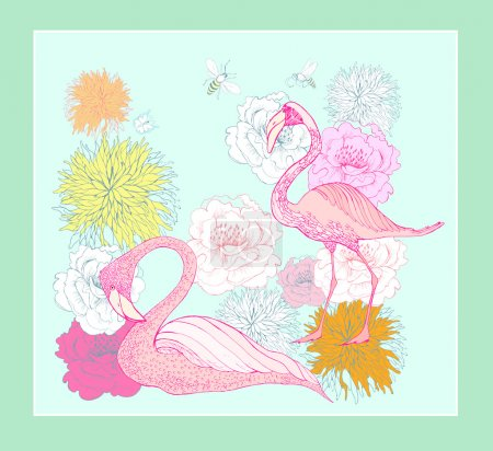 Tropical Flowers and Flamingos