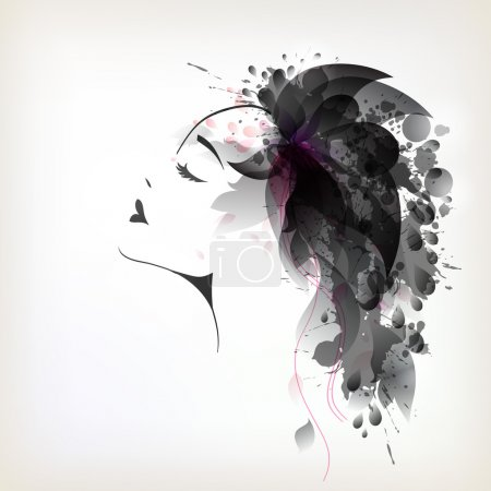 Woman with abstract flower hair
