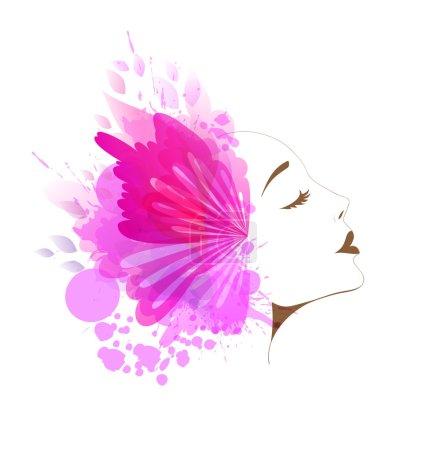 Illustration pour Belle femme de mode de profil avec des fleurs colorées abstraites et des papillons - image libre de droit