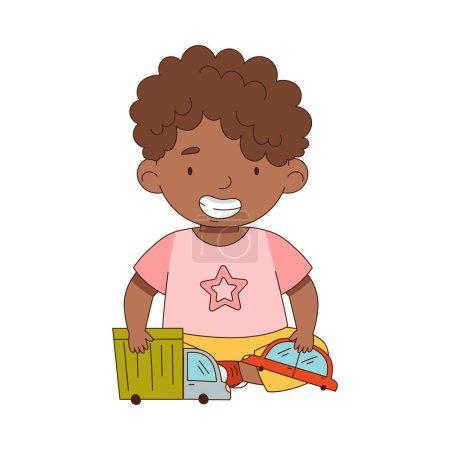Illustration pour Mignon afro-américain garçon jouer avec jouet camion et voiture s'amuser sur son propre profiter de l'illustration vectorielle de l'enfance. Petit enfant engagé dans une activité récréative dans une salle de jeux Concept - image libre de droit