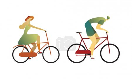 Illustration for Man and Woman Riding Bicycle Enjoying Vacation or Weekend Activity Vector Set. Sportive Male and Female Cyclist on Bike Enjoying Summer Recreation Concept - Royalty Free Image