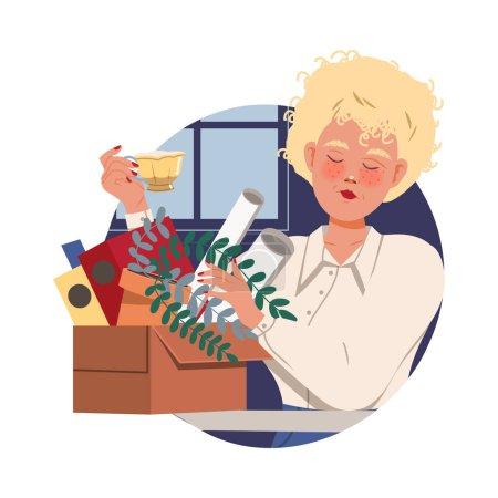 Illustration pour Femme blonde employée de bureau chez Workspace Drinking Tea Circle Vector Composition. Jeune employée qui travaille en entreprise Faire des activités quotidiennes Concept - image libre de droit