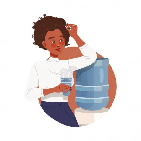 Illustration pour Travailleuse de bureau chez Workspace Drinking Water from Dispenser Circle Vector Composition. Jeune employée qui travaille en entreprise Faire des activités quotidiennes Concept - image libre de droit