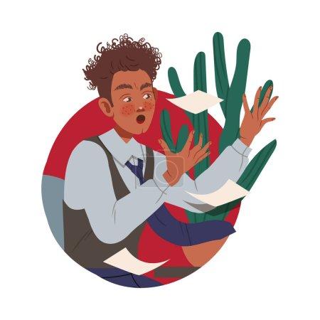 Illustration pour Man Office Worker at Workspace Throwing Paper Documents Circle Vector Composition. Jeune employé de sexe masculin travaillant dans une entreprise faisant le concept quotidien de routine - image libre de droit