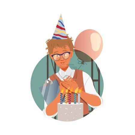 Illustration pour Homme taches de rousseur employé de bureau dans le chapeau d'anniversaire acceptant la composition vectorielle de cercle de félicitations. Jeune employé de sexe masculin travaillant dans une entreprise faisant le concept quotidien de routine - image libre de droit