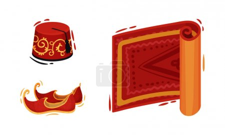 Illustration for Turkey Culture Traditional Symbols with Fez Hat, Carpet and Shoes Vector Set. Famous Turkish Attributes and Distinctive Signs Concept - Royalty Free Image