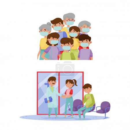 Illustration pour Membres de la famille portant des masques de protection faciale. Patient visitant l'hôpital pour rendez-vous chez le médecin dans la salle d'urgence illustration vectorielle de dessin animé isolé sur fond blanc - image libre de droit