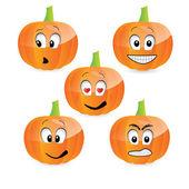 Vector pumpkin faces-emoticons
