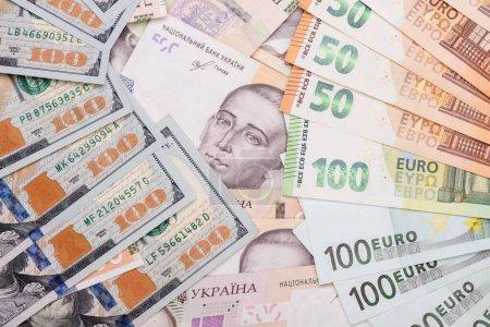 Ukrainian hryvnia, American dollar, euro currency,...