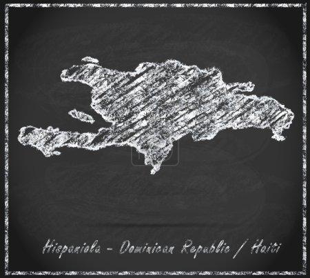 Photo pour Carte d'hispaniola comme tableau en noir et blanc - image libre de droit