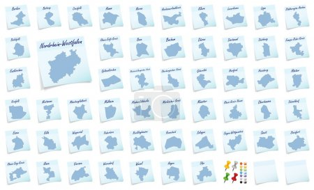 Collage of North Rhine-Westphalia with counties as...