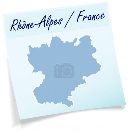 Map of Rhone-Alpes as sticky note