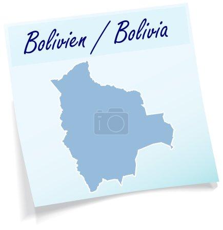 Illustration pour Carte de La Bolivie comme note collante en bleu - image libre de droit