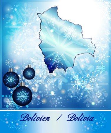 Illustration pour Carte de la Bolivie en dessin de Noël en bleu - image libre de droit