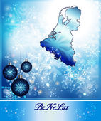 Map of Benelux in Christmas Design in blue