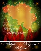 Map of Belgium in Christmas Design