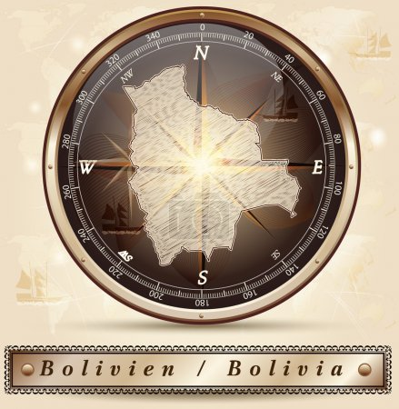 Illustration pour Carte de Bolivie avec bordures en bronze - image libre de droit