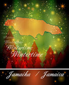 Map of Jamaica in Christmas Design