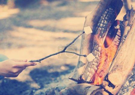 Foto de Persona malvaviscos en un palo en una fogata cuando van a acampar con filtro de estilo instagram - Imagen libre de derechos