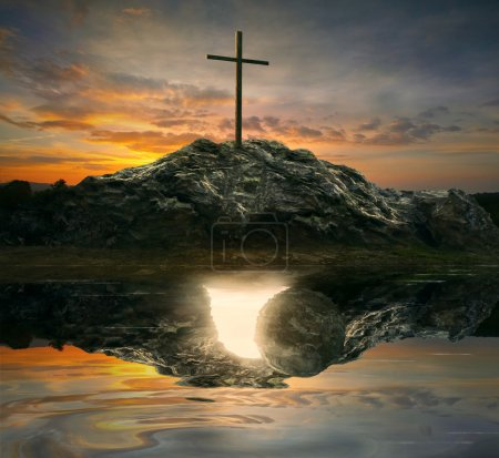 A single cross with the reflection of an empty tom...