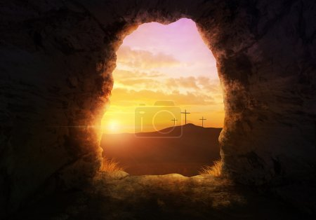 Photo for Empty tomb with three crosses on a hill side. - Royalty Free Image