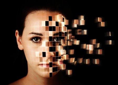 Womans face disintegrating