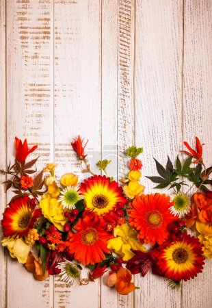 Autumnal flowers and berries