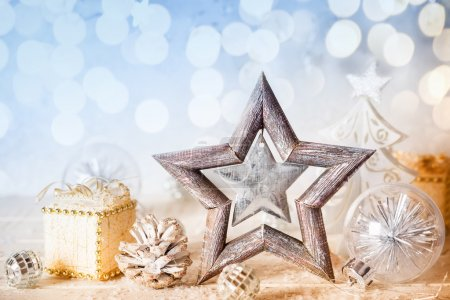 decorative star,gifts and pine cones