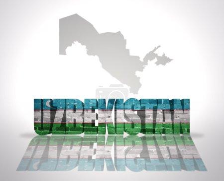Word Uzbekistan with National Flag near map of Uzb...