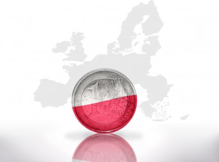 euro coin with polish flag on the european union map background