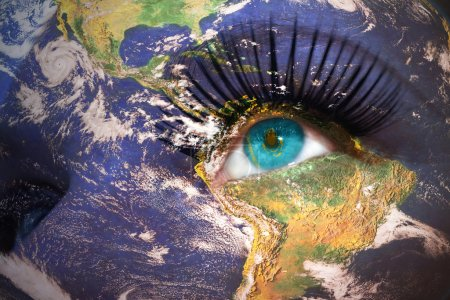 woman's face with planet Earth texture and kazakhstan flag inside the eye
