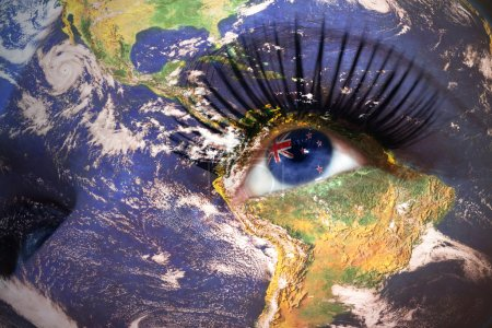 womans face with planet Earth texture and new zealand flag inside the eye