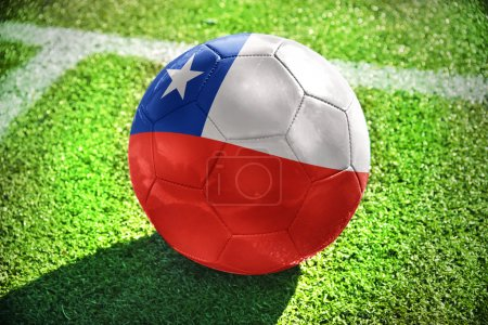 football ball with the national flag of chile on the field