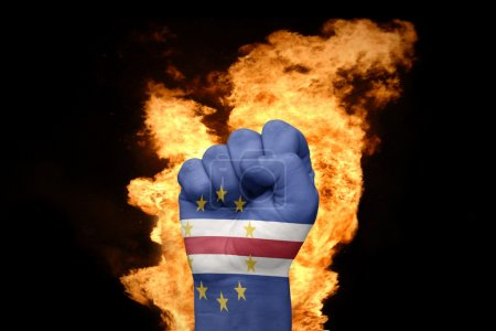fire fist with the national flag of cape verde