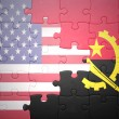 Постер, плакат: puzzle with the national flags of united states of america and angola