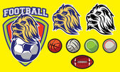 template for sports logo with a lion head and balls