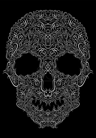 Illustration for Stylized human skull from Floral elements on a black background - Royalty Free Image